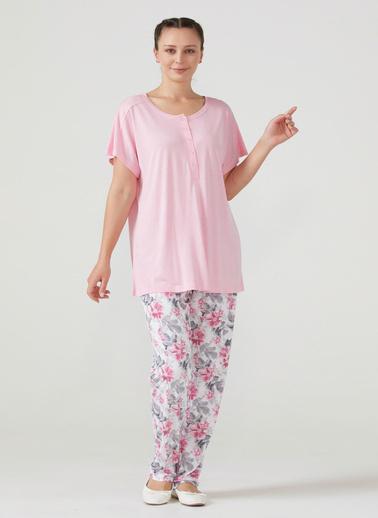 Sementa Kadın Büyük Beden Kısa Kol Pijama Takım  Beyaz